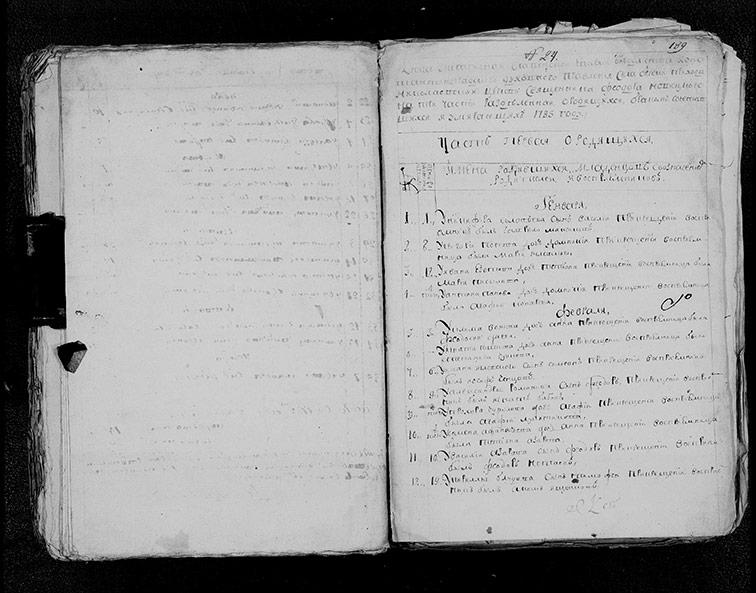 Метрическая книга Николаевской церкви села Берека за 1785 год