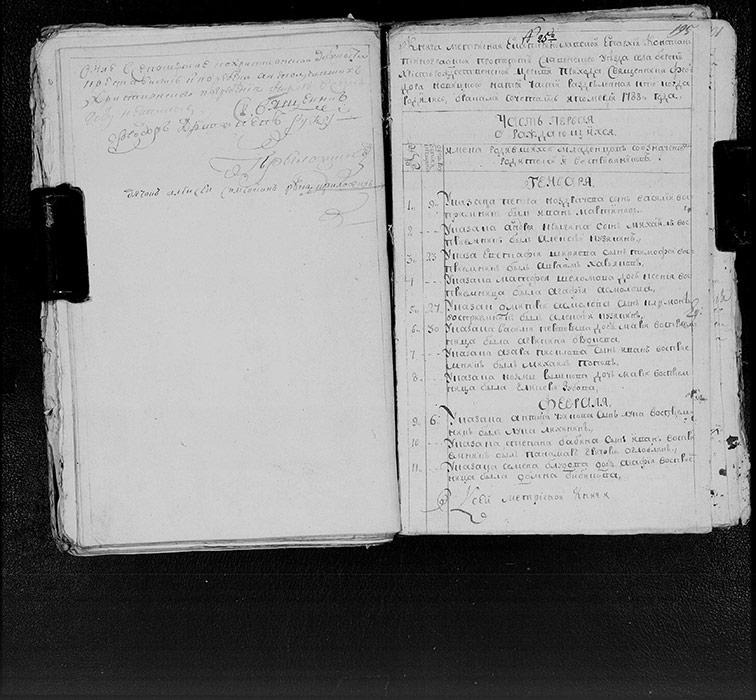 Метрическая книга Христорождественской церкви села Берека за 1788 год