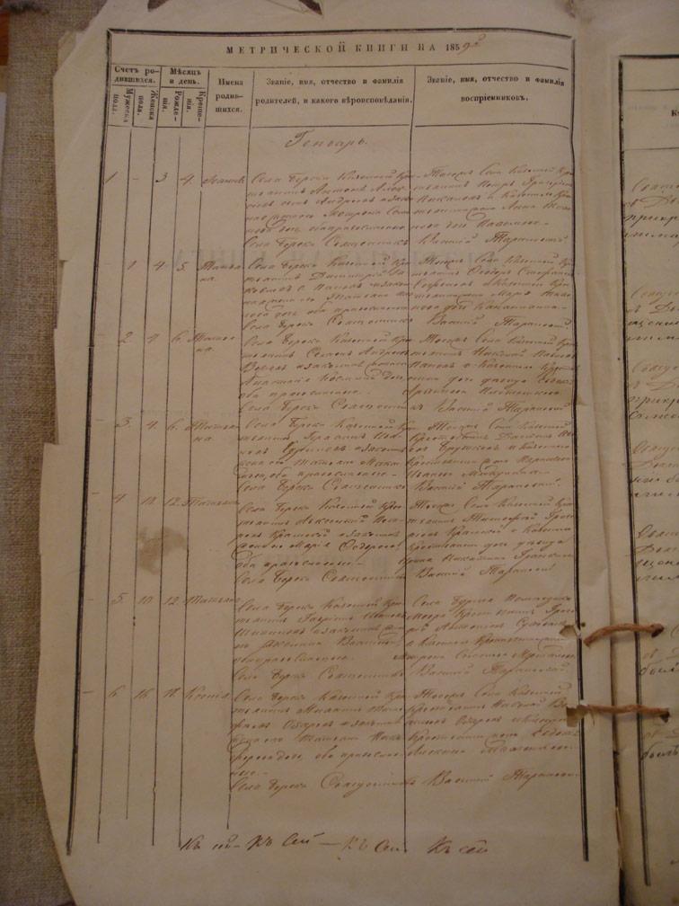 Метрическая книга Береки за 1859 год