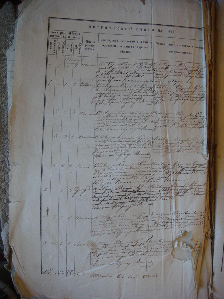 Метрическая книга Береки за 1869 год