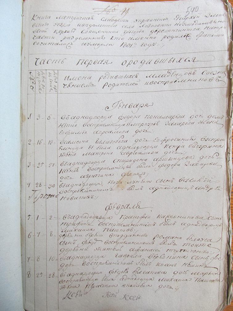 Метрическая книга Космо-Дамиановской церкви села Лозовеньки за 1801 год