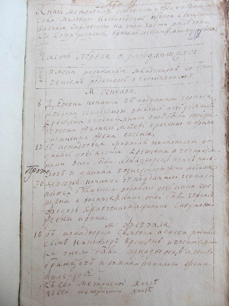 Метрическая книга Николаевской церкви села Меловая за 1801 год