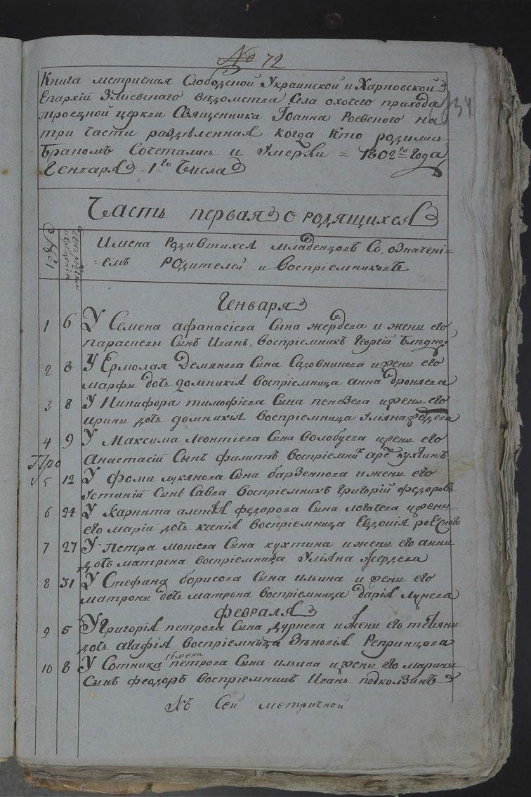Метрическая книга Троицкой церкви села Охочее за 1802 год