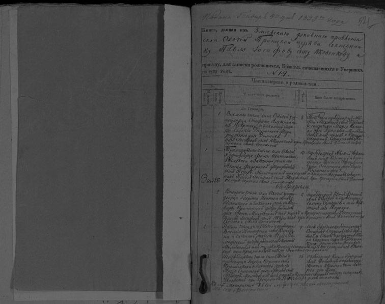 Метрическая книга Троицкой церкви села Охочее за 1838 год