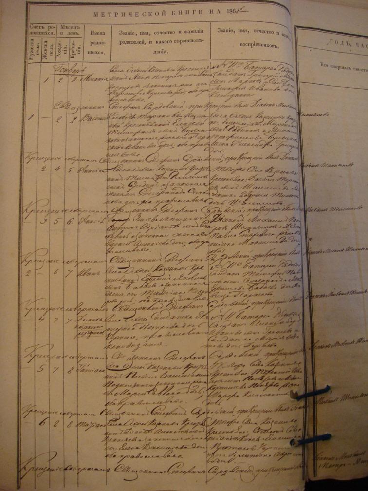 Метрическая книга Троицкой церкви села Охочее за 1861 год