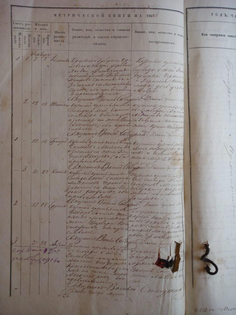 Метрическая книга Троицкой церкви села Охочее за 1868 год