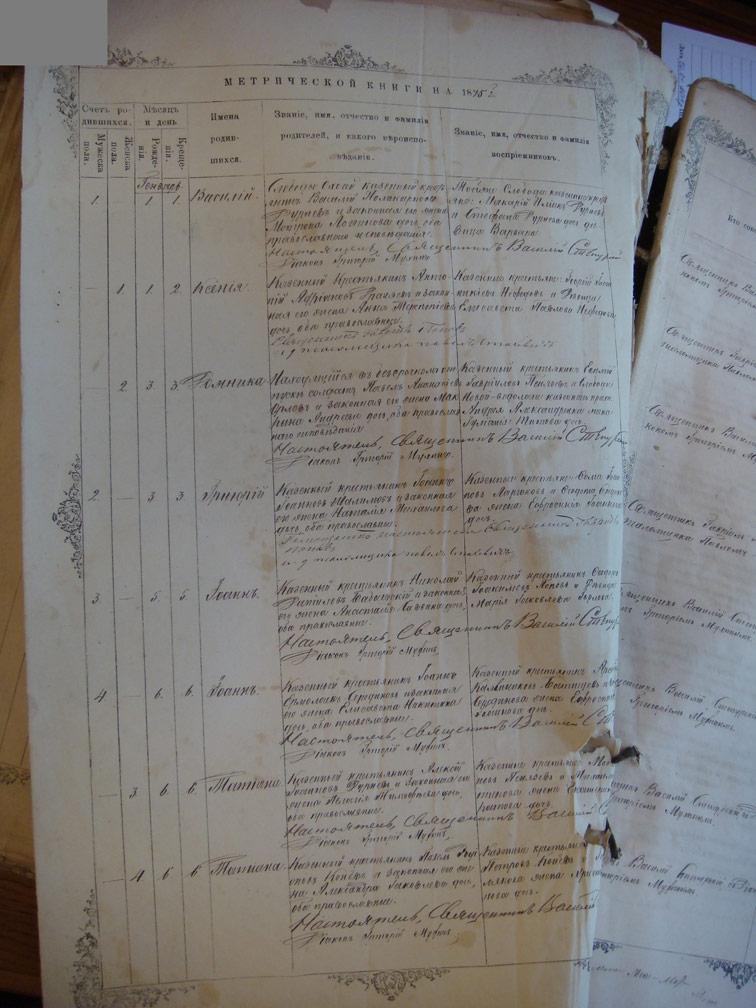 Метрическая книга Троицкой церкви села Охочее за 1875 год