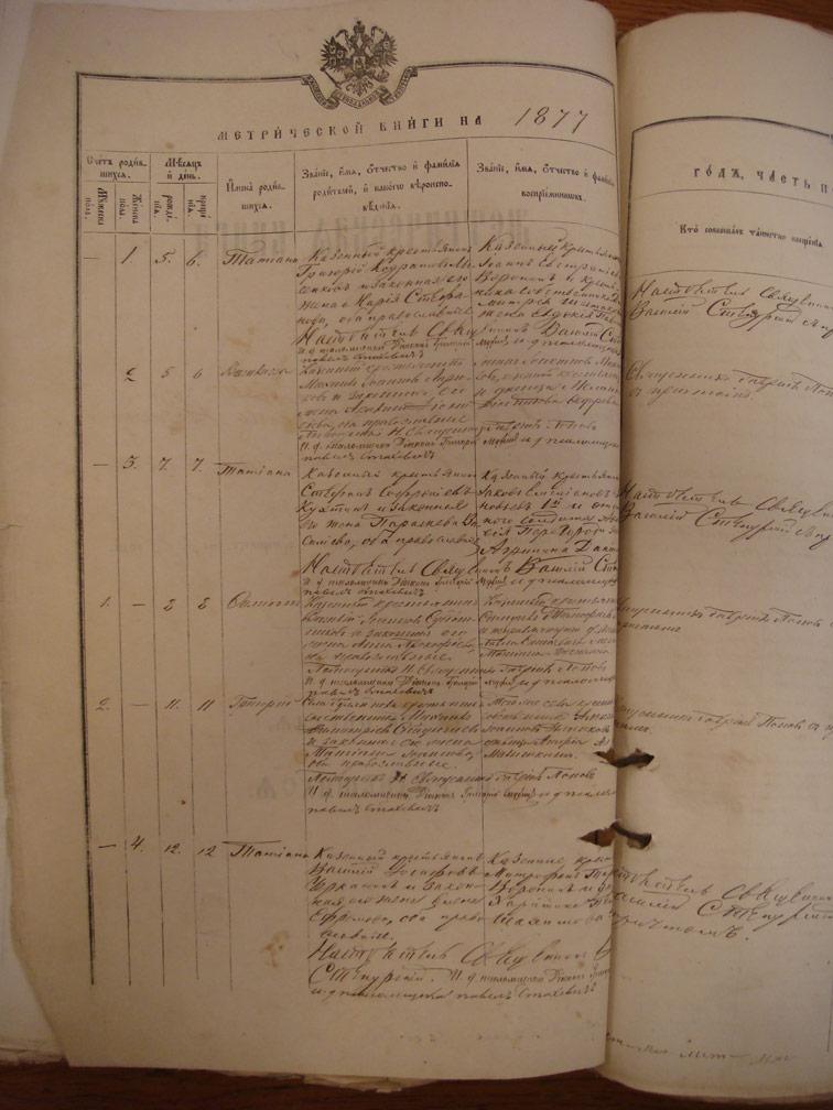 Метрическая книга Троицкой церкви села Охочее за 1877 год
