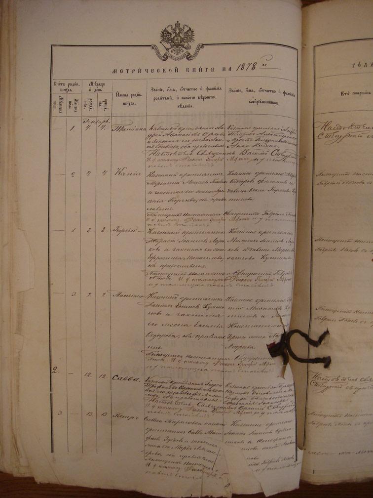 Метрическая книга Троицкой церкви села Охочее за 1878 год