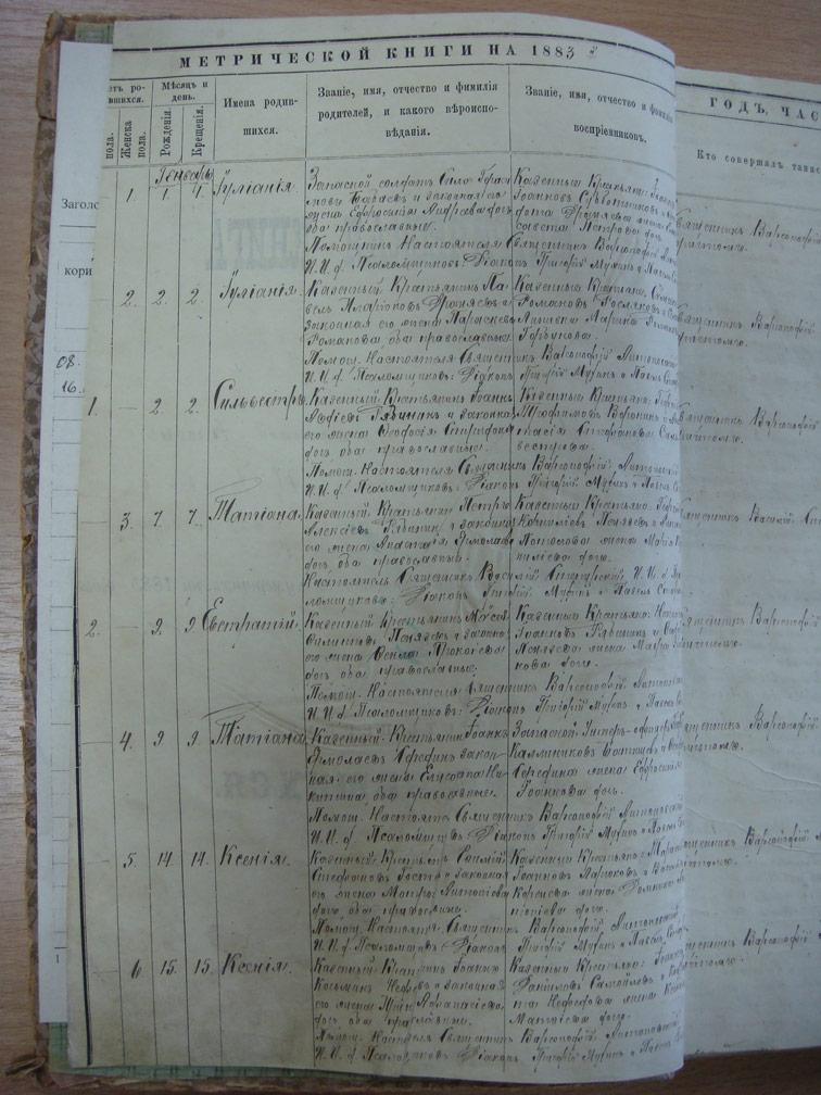 Метрическая книга Троицкой церкви села Охочее за 1883 год