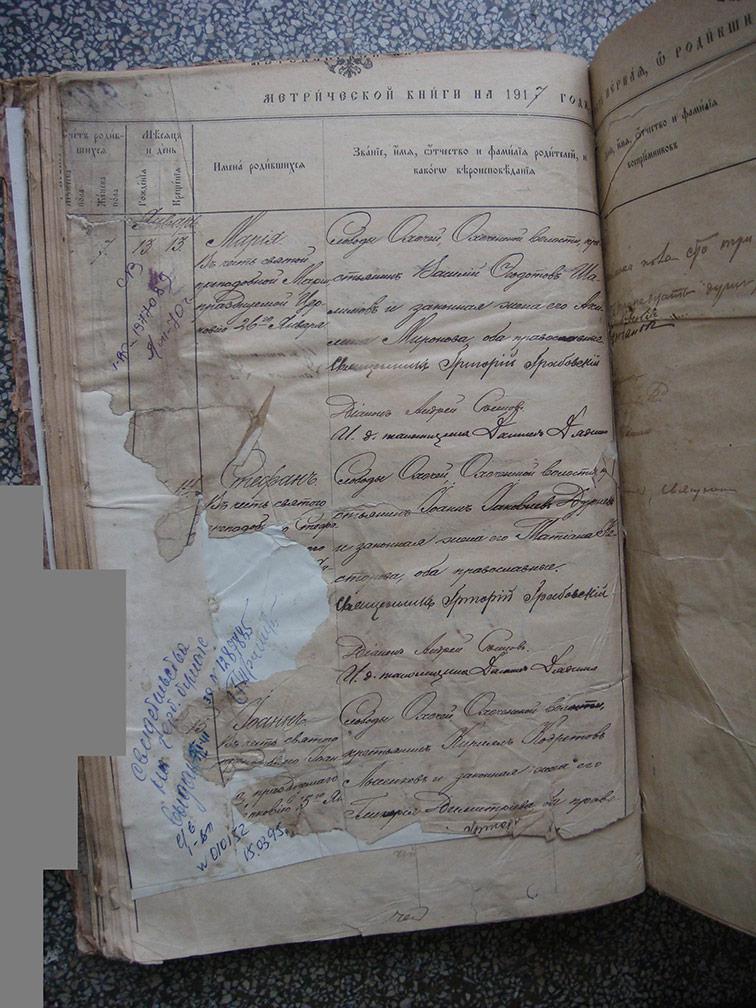 Метрическая книга Троицкой церкви села Охочее за 1917 год