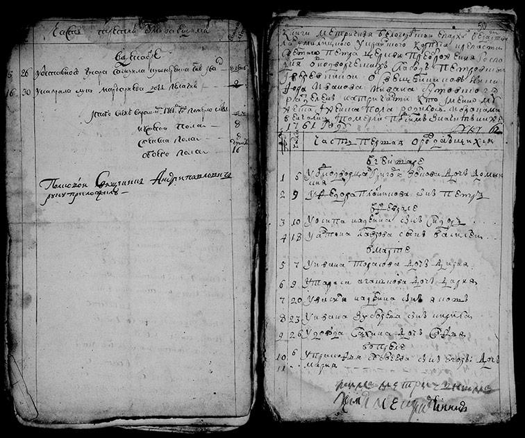 Метрическая книга церкви Преображения Господня Петровской крепости однодворческих слобод Петровской и Верёвкиной за 1761 год