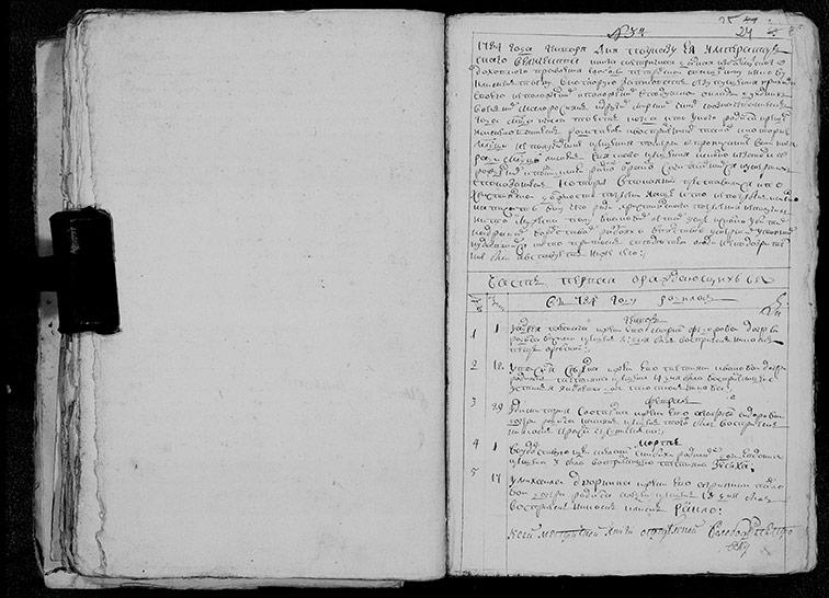 Метрическая книга Преображенской церкви села Петровское за 1784 год