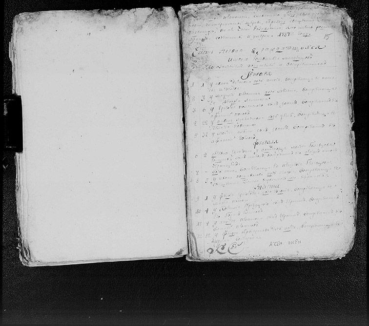 Метрическая книга Екатерининской церкви села Протопоповки за 1787 год