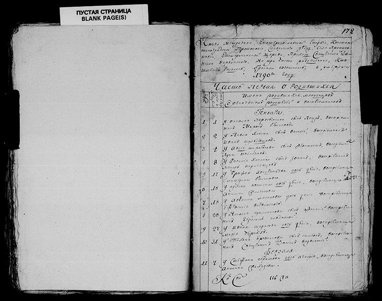 Метрическая книга Екатерининской церкви села Протопоповки за 1790 год