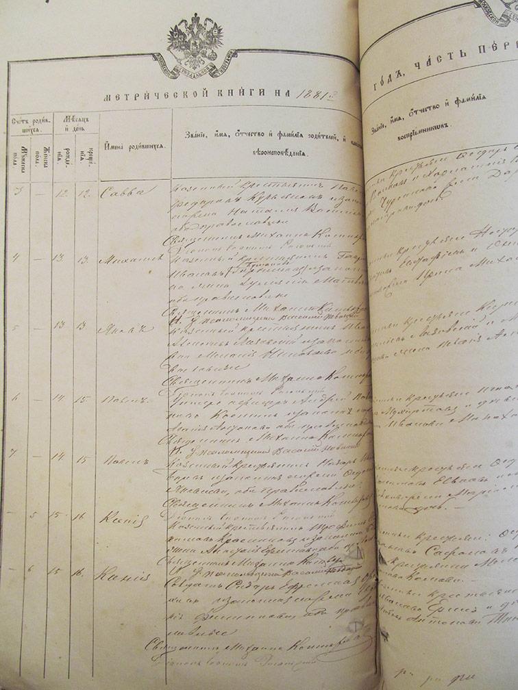 Метрическая книга Архангело-Михайловской церкви села Верхний Бишкин за 1881 год
