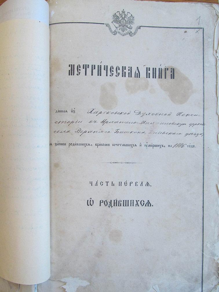 Метрическая книга Архангело-Михайловской церкви села Верхний Бишкин за 1886 год