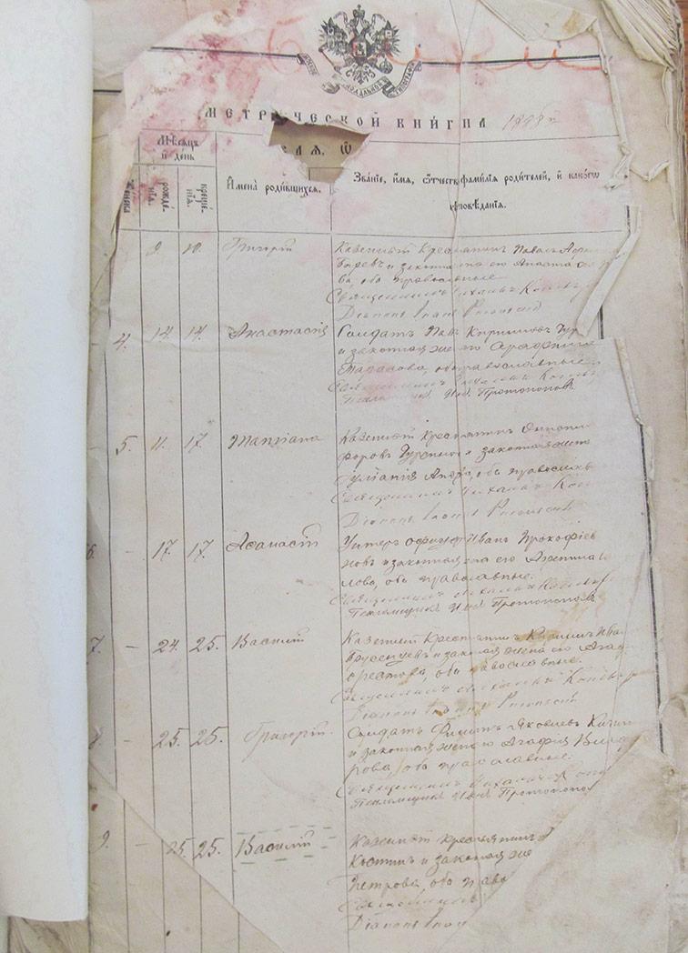 Метрическая книга Архангело-Михайловской церкви села Верхний Бишкин за 1888 год