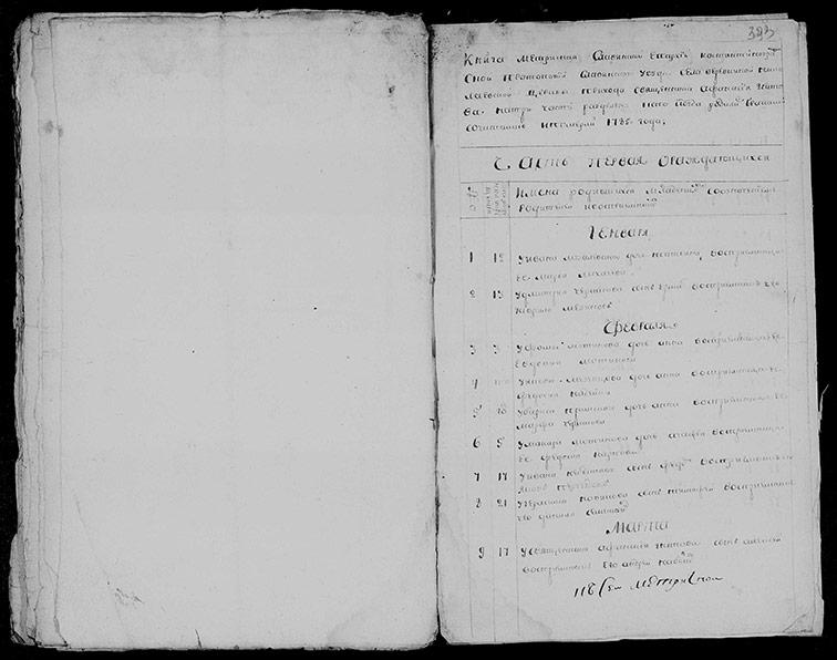 Метрическая книга Николаевской церкви села Верёвкино за 1785 год