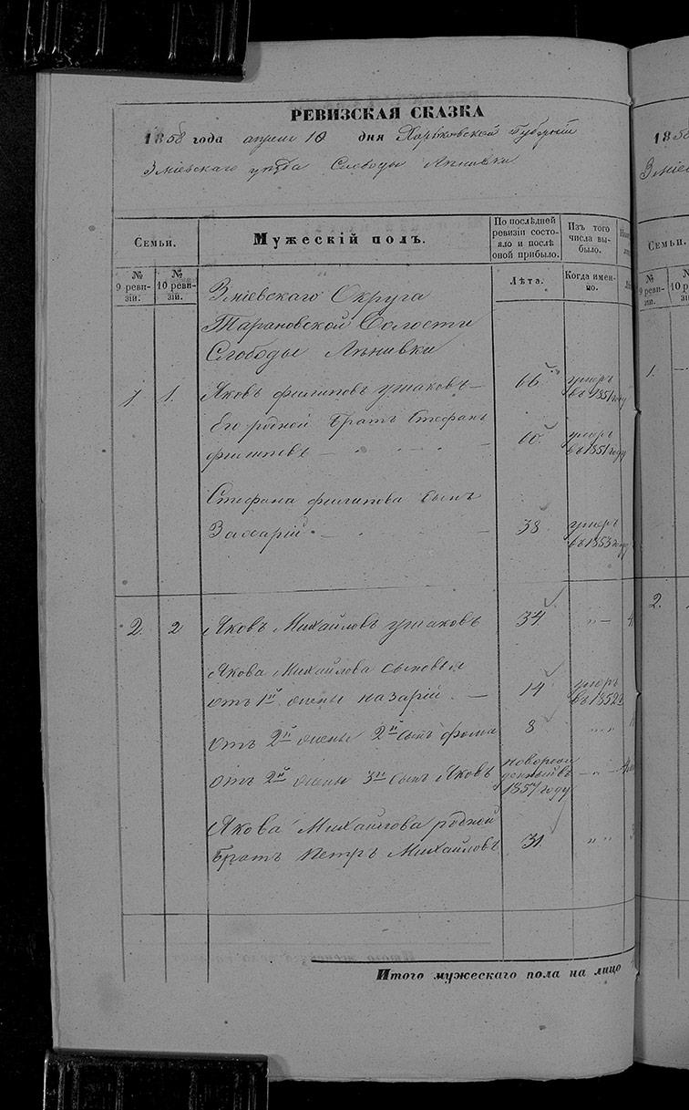 Ревизская сказка Ленивки 1858 год (10-я ревизия)