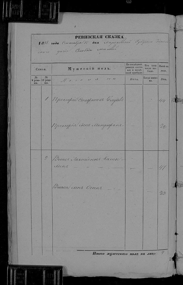 Ревизская сказка Меловой 1858 год (10-я ревизия)
