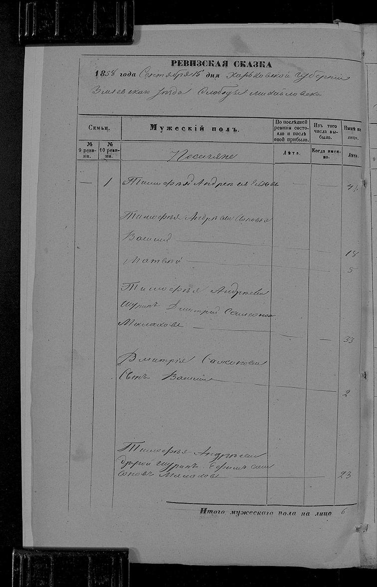 Ревизская сказка Михайловки 1858 год (10-я ревизия)