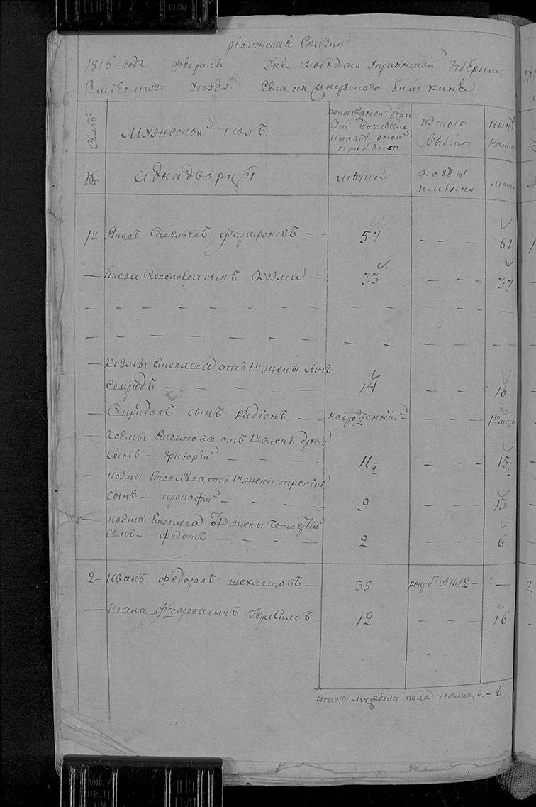 Ревизская сказка Нижнего Бишкина 1816 год (7-я ревизия)