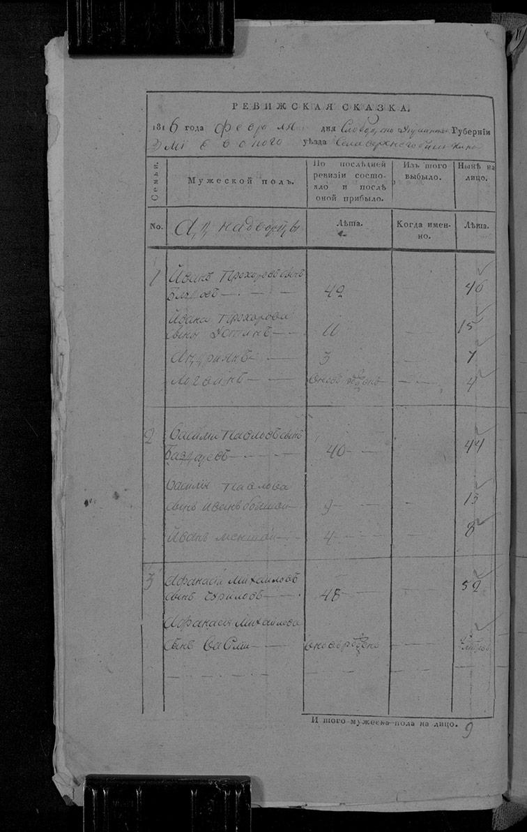 Ревизская сказка Верхнего Бишкина 1816 год (7-я ревизия)