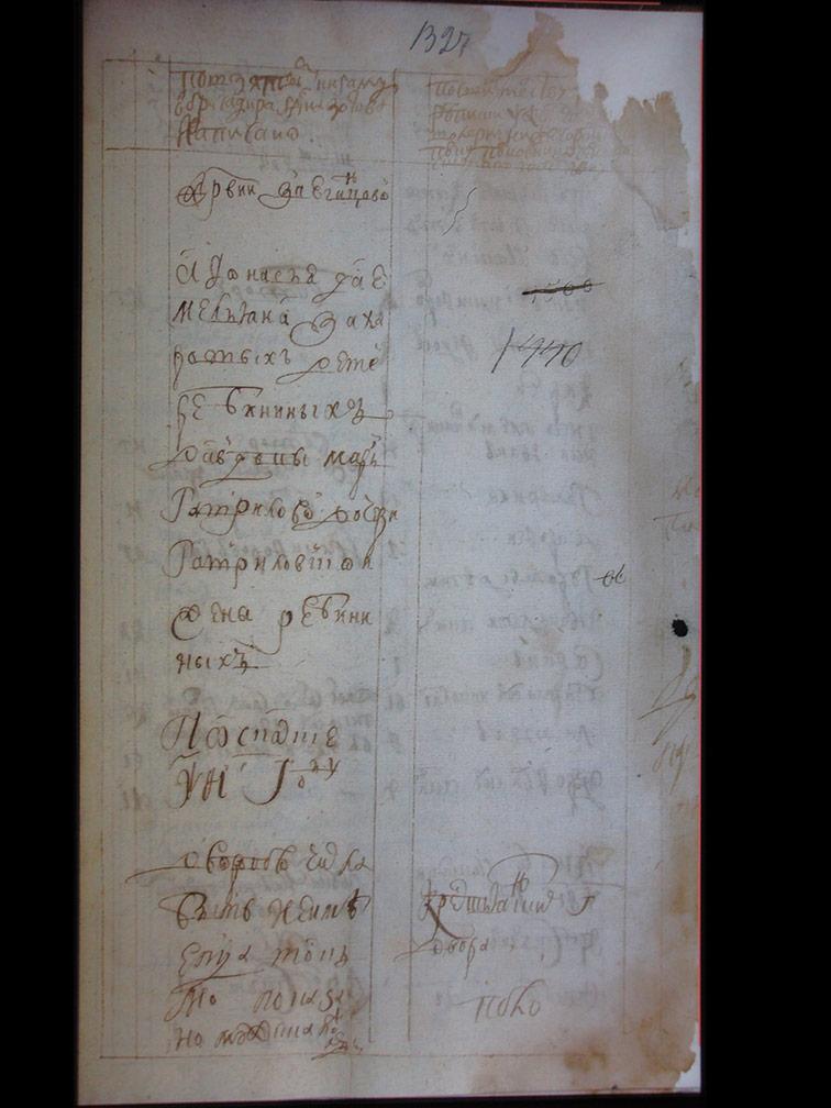 Ревизская сказка Звягинцевой за 1721 год