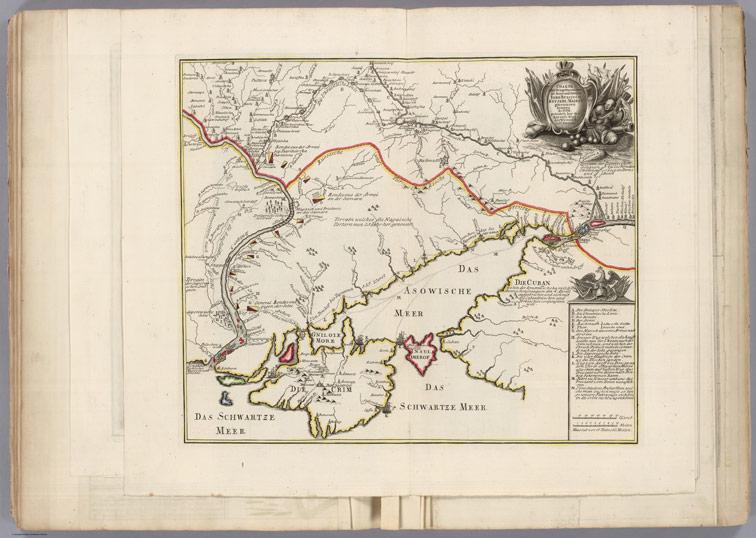 Карта военных операций на Дону и Днепре Русской славной армии в 1736 году