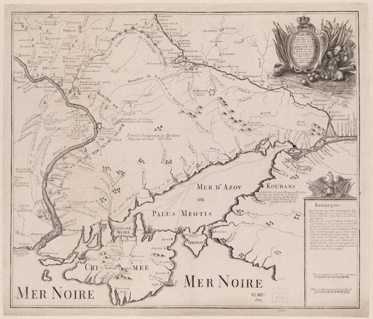 Общая карта победоносных военных экспедиции в 1736 году.