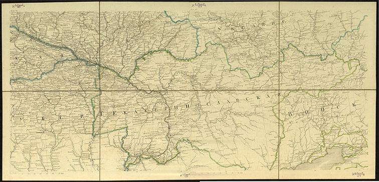 Карта Екатеринославской губернии из Подробной карты Российской империи, 1816 год