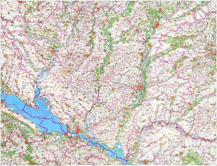 Современная карта Полтавской области