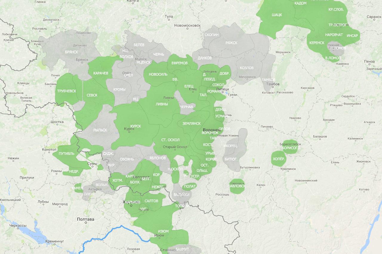 Схема обработанных уездов Белгородской и Воронежской губерний (2-я ревизия).