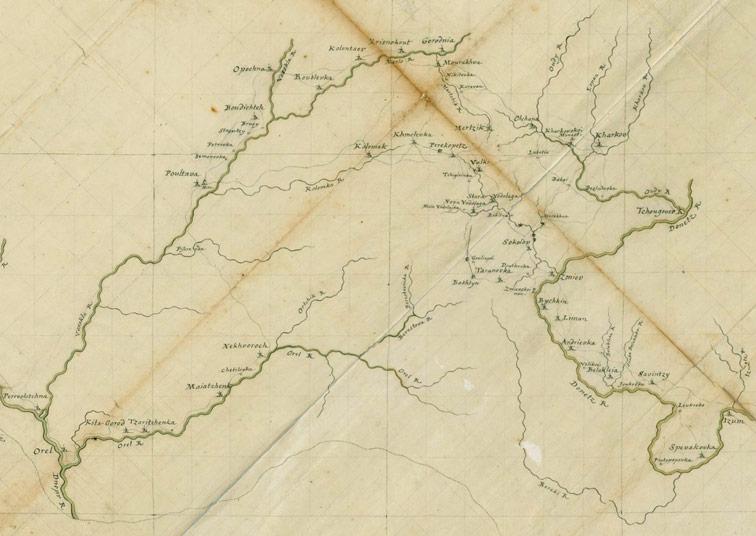 Карта границ России, Польши и Турции 1724-1729 годов.