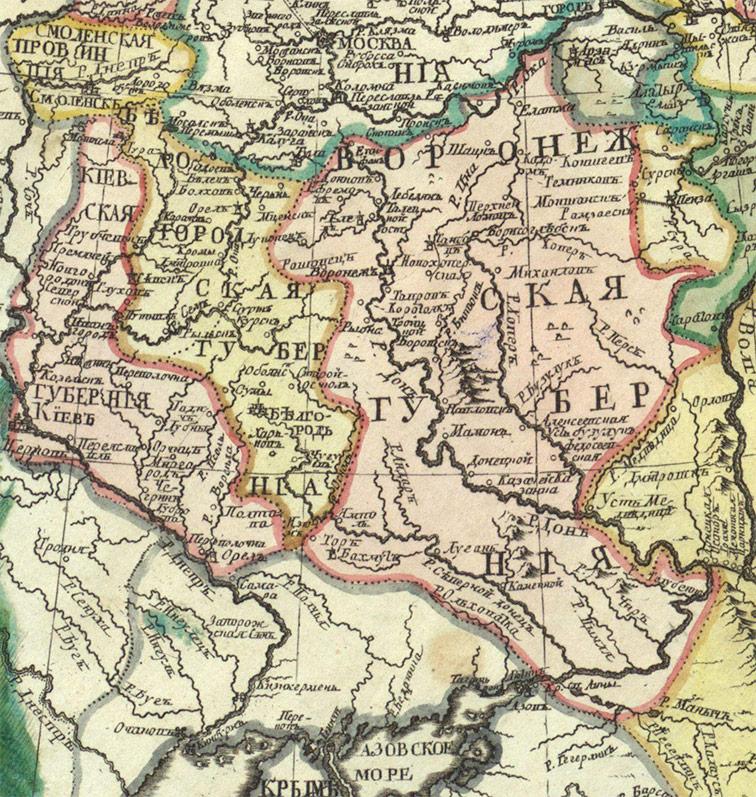 Карта Белгородской и Воронежской губерний из Атласа 1745 года.